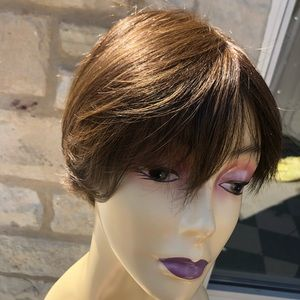 Wig Angle cut chestnut brown short pixie 2019 Wig